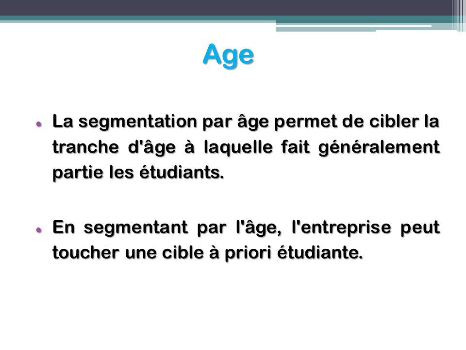 Age La segmentation par âge permet de cibler la tranche d'âge à laquelle fait généralement partie les étudiants. La segmentation par âge permet de cib