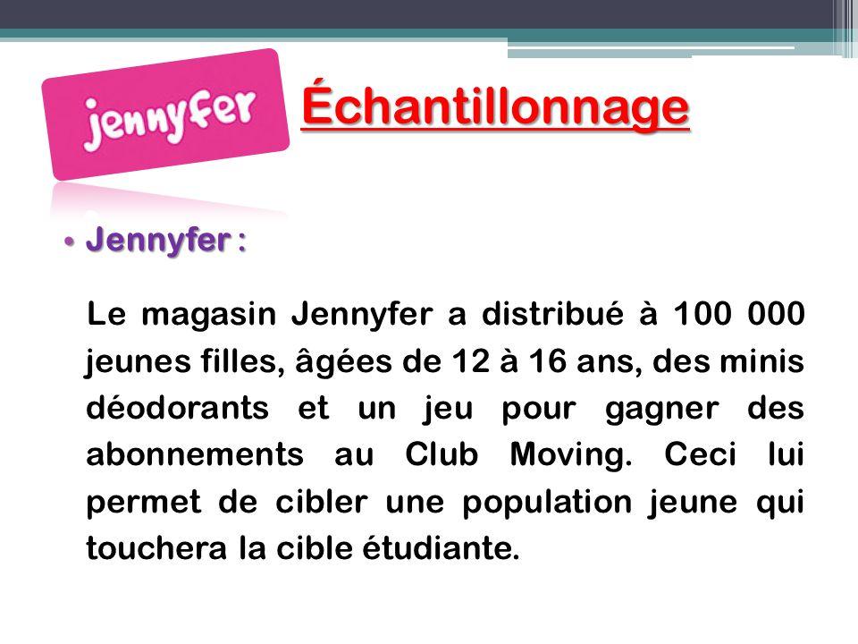 Échantillonnage Échantillonnage Jennyfer : Jennyfer : Le magasin Jennyfer a distribué à 100 000 jeunes filles, âgées de 12 à 16 ans, des minis déodora