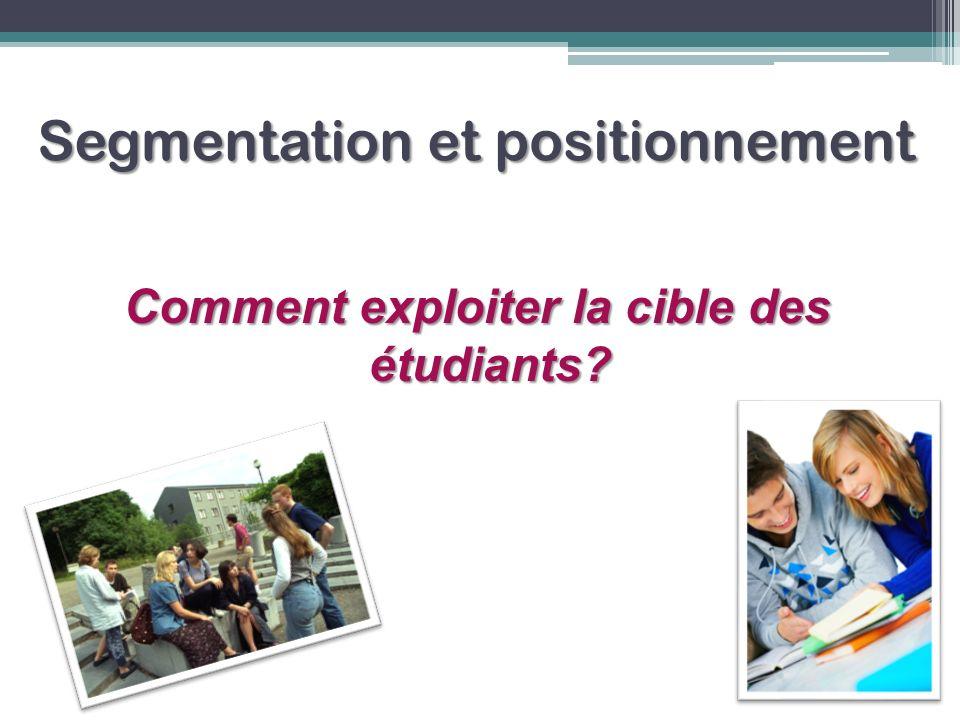 Segmentation et positionnement Comment exploiter la cible des étudiants?