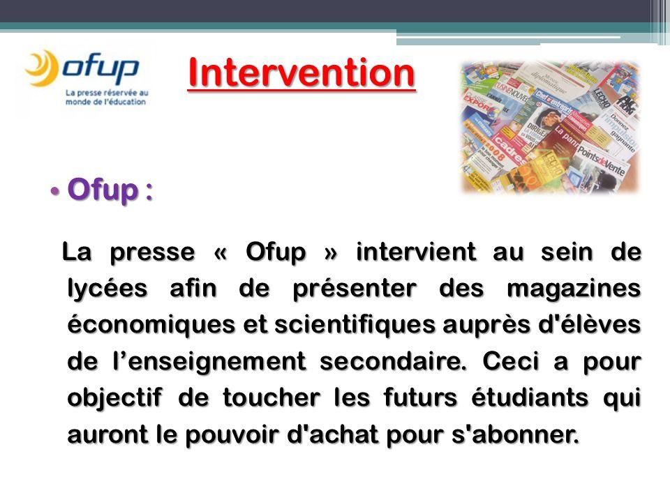 Intervention Ofup : Ofup : La presse « Ofup » intervient au sein de lycées afin de présenter des magazines économiques et scientifiques auprès d'élève