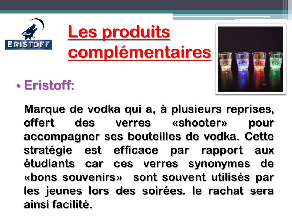 Les produits complémentaires Les produits complémentaires Eristoff: Eristoff: Marque de vodka qui a, à plusieurs reprises, offert des verres «shooter»