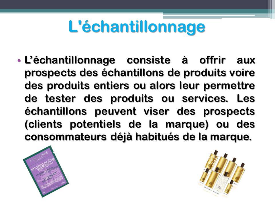 L'échantillonnage Léchantillonnage consiste à offrir aux prospects des échantillons de produits voire des produits entiers ou alors leur permettre de