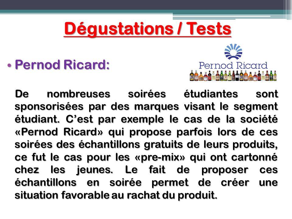 Dégustations / Tests Pernod Ricard: Pernod Ricard: De nombreuses soirées étudiantes sont sponsorisées par des marques visant le segment étudiant. Cest