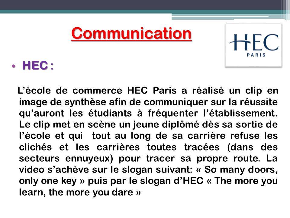 Communication HEC : HEC : Lécole de commerce HEC Paris a réalisé un clip en image de synthèse afin de communiquer sur la réussite quauront les étudian