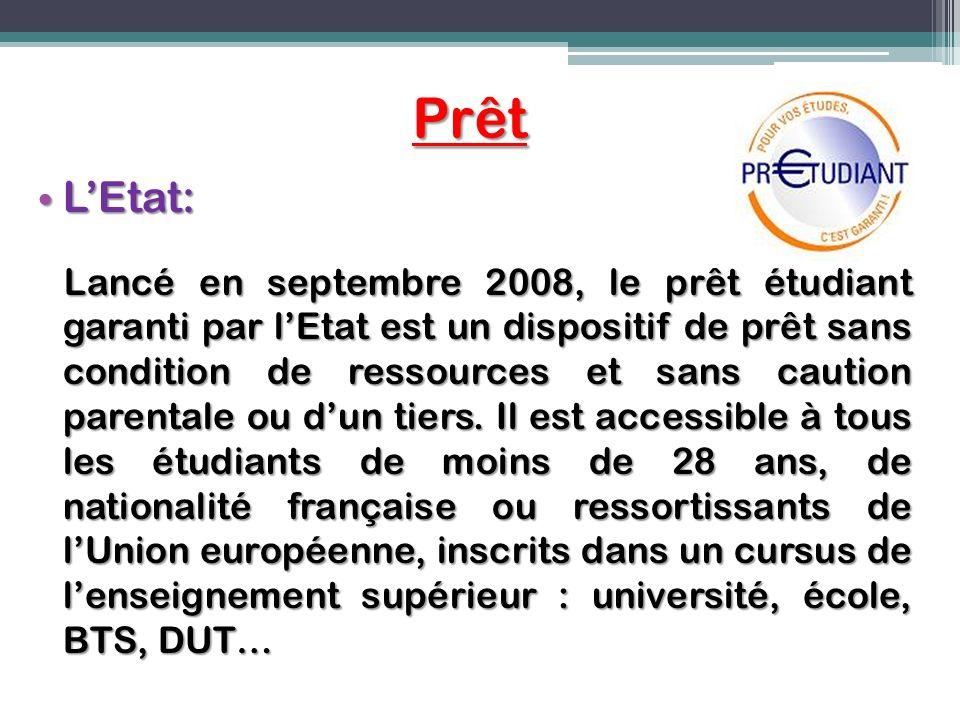 Prêt LEtat: LEtat: Lancé en septembre 2008, le prêt étudiant garanti par lEtat est un dispositif de prêt sans condition de ressources et sans caution