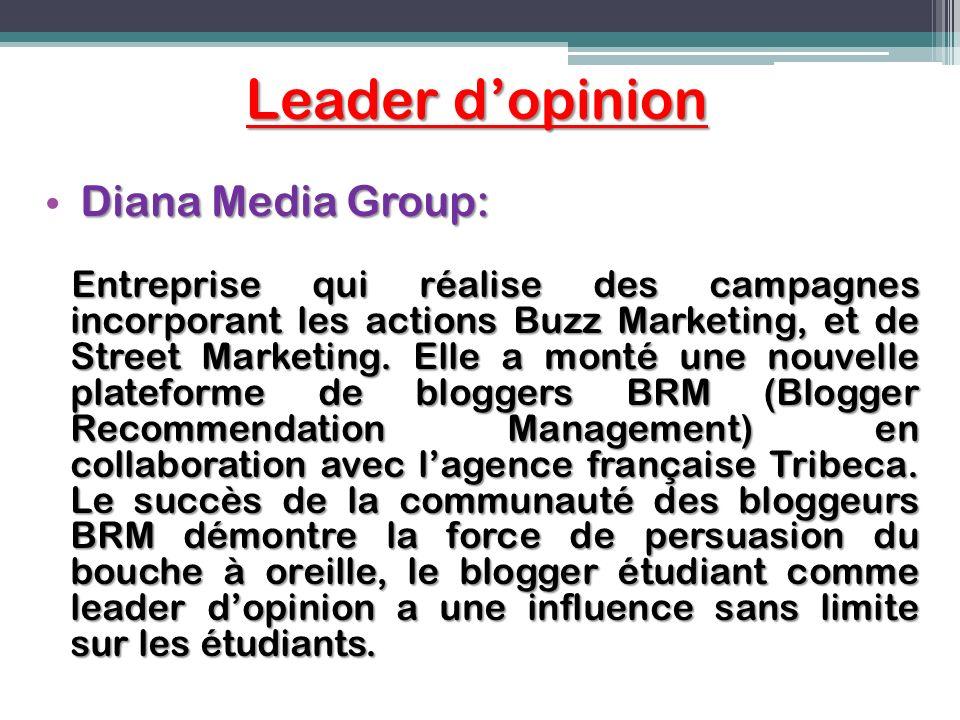 Leader dopinion Diana Media Group: Entreprise qui réalise des campagnes incorporant les actions Buzz Marketing, et de Street Marketing. Elle a monté u
