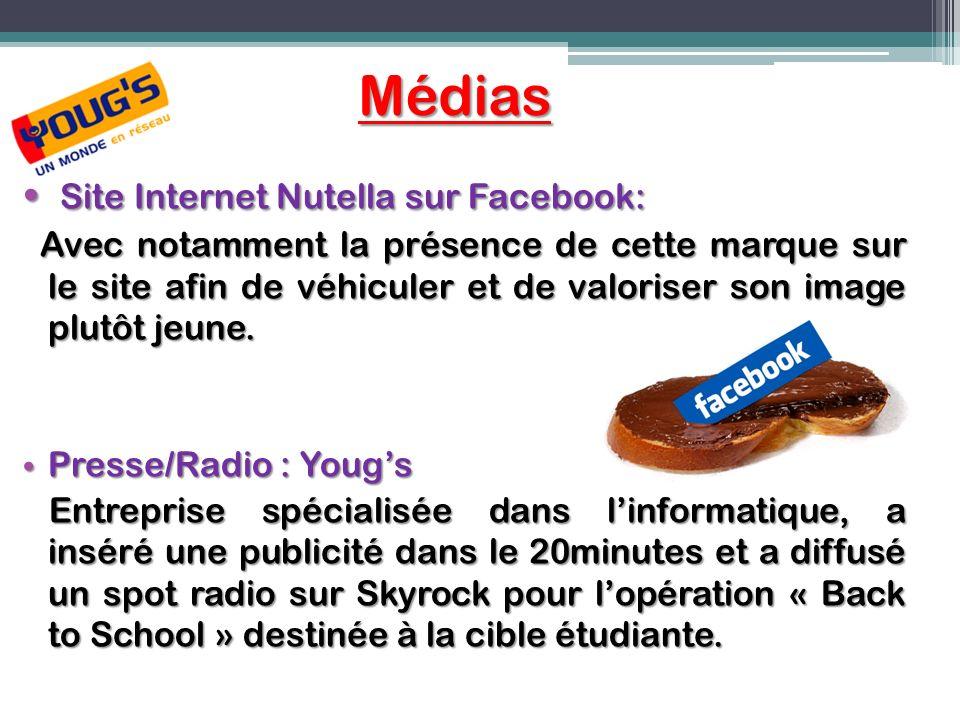 Médias Site Internet Nutella sur Facebook: Site Internet Nutella sur Facebook: Avec notamment la présence de cette marque sur le site afin de véhicule