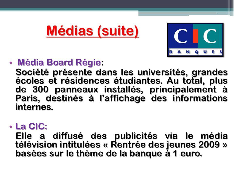 Médias (suite) Média Board Régie: Média Board Régie: Société présente dans les universités, grandes écoles et résidences étudiantes. Au total, plus de