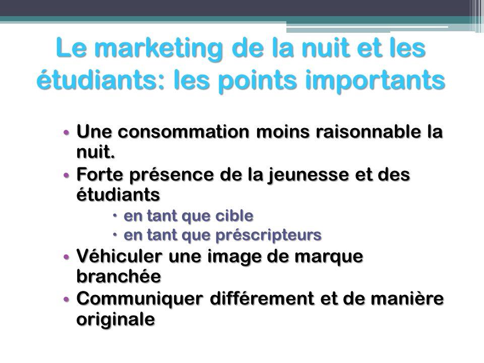 Le marketing de la nuit et les étudiants: les points importants Une consommation moins raisonnable la nuit. Une consommation moins raisonnable la nuit