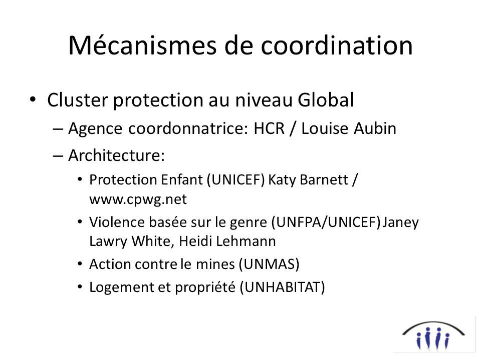 Mécanismes de coordination Cluster protection au niveau Global – Agence coordonnatrice: HCR / Louise Aubin – Architecture: Protection Enfant (UNICEF)