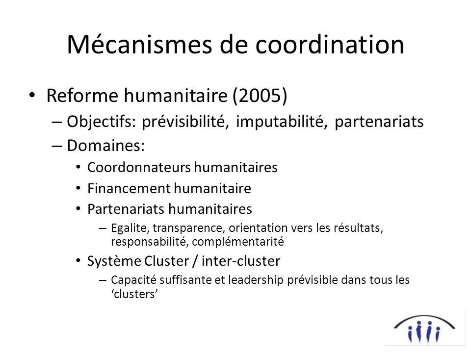Mécanismes de coordination Reforme humanitaire (2005) – Objectifs: prévisibilité, imputabilité, partenariats – Domaines: Coordonnateurs humanitaires F