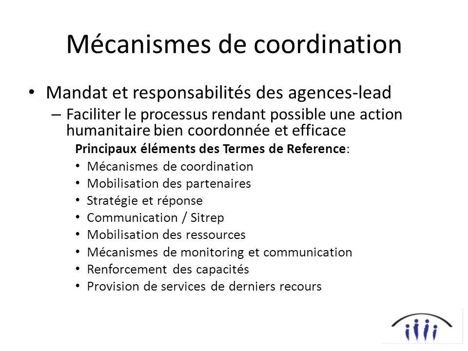 Mécanismes de coordination Mandat et responsabilités des agences-lead – Faciliter le processus rendant possible une action humanitaire bien coordonnée