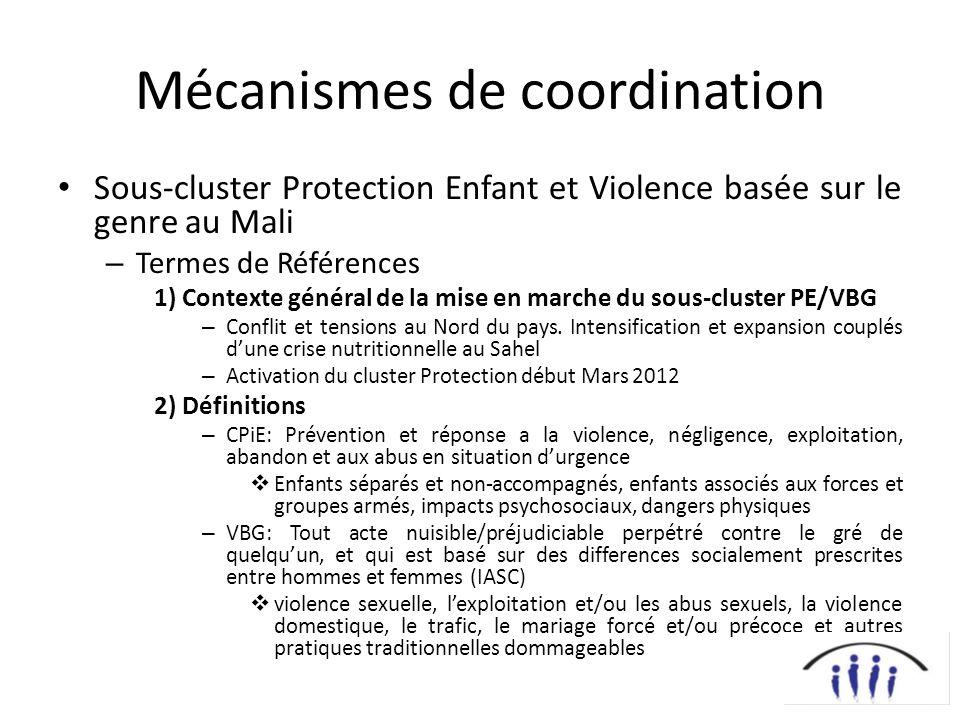 Mécanismes de coordination Sous-cluster Protection Enfant et Violence basée sur le genre au Mali – Termes de Références 1) Contexte général de la mise en marche du sous-cluster PE/VBG – Conflit et tensions au Nord du pays.
