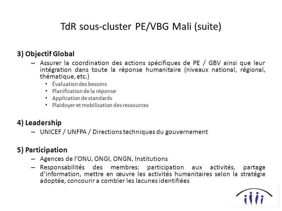 TdR sous-cluster PE/VBG Mali (suite) 3) Objectif Global – Assurer la coordination des actions spécifiques de PE / GBV ainsi que leur intégration dans