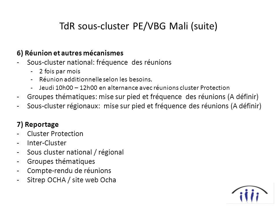 TdR sous-cluster PE/VBG Mali (suite) 6) Réunion et autres mécanismes -Sous-cluster national: fréquence des réunions -2 fois par mois -Réunion additionnelle selon les besoins.