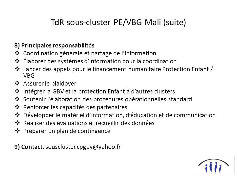 TdR sous-cluster PE/VBG Mali (suite) 8) Principales responsabilités Coordination générale et partage de linformation Élaborer des systèmes dinformatio
