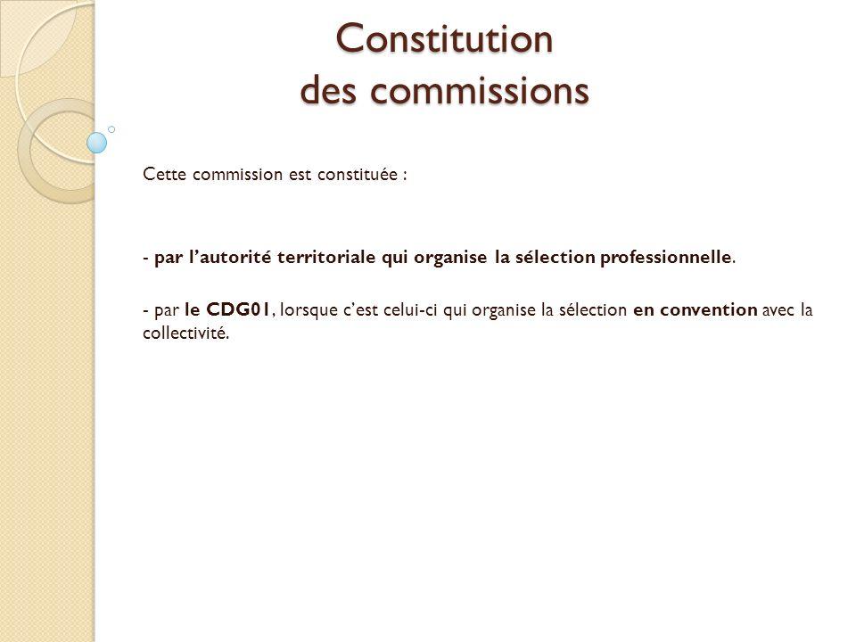 Constitution des commissions Cette commission est constituée : - par lautorité territoriale qui organise la sélection professionnelle. - par le CDG01,