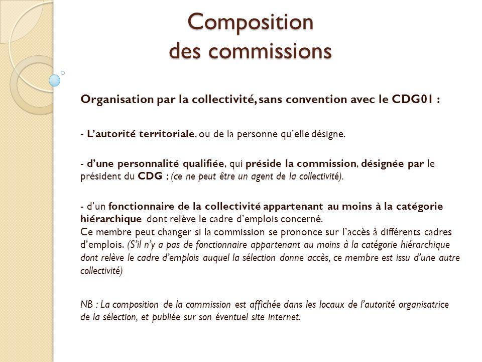 Composition des commissions Organisation en convention avec le CDG01 : - Le Président du CDG01, ou de la personne quelle désigne ; (ce ne peut être lautorité territoriale demploi) - dune personnalité qualifiée désignée par le président du CDG01 ; (ce ne peut être un agent de la collectivité demploi).