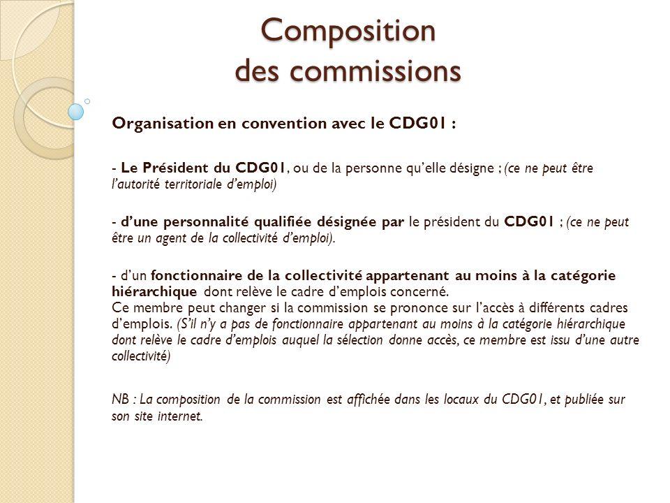 Composition des commissions Organisation en convention avec le CDG01 : - Le Président du CDG01, ou de la personne quelle désigne ; (ce ne peut être la