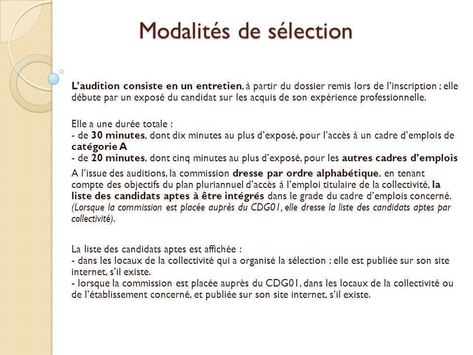 Modalités de sélection Laudition consiste en un entretien, à partir du dossier remis lors de linscription ; elle débute par un exposé du candidat sur