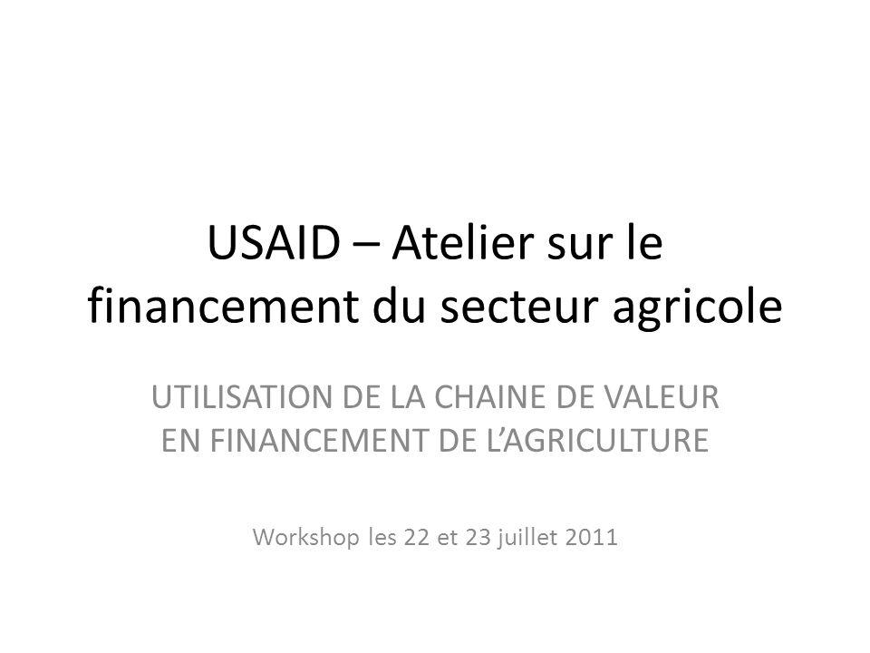 USAID – Atelier sur le financement du secteur agricole UTILISATION DE LA CHAINE DE VALEUR EN FINANCEMENT DE LAGRICULTURE Workshop les 22 et 23 juillet