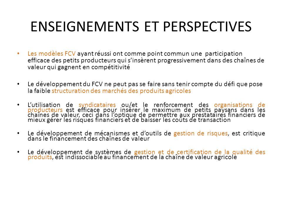 ENSEIGNEMENTS ET PERSPECTIVES Les modèles FCV ayant réussi ont comme point commun une participation efficace des petits producteurs qui sinsèrent prog