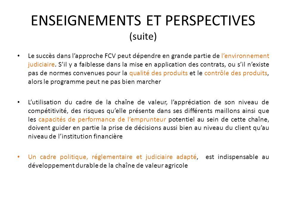 ENSEIGNEMENTS ET PERSPECTIVES (suite) Le succès dans lapproche FCV peut dépendre en grande partie de lenvironnement judiciaire. Sil y a faiblesse dans
