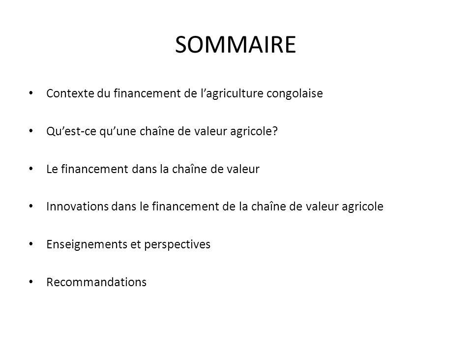 SOMMAIRE Contexte du financement de lagriculture congolaise Quest-ce quune chaîne de valeur agricole? Le financement dans la chaîne de valeur Innovati