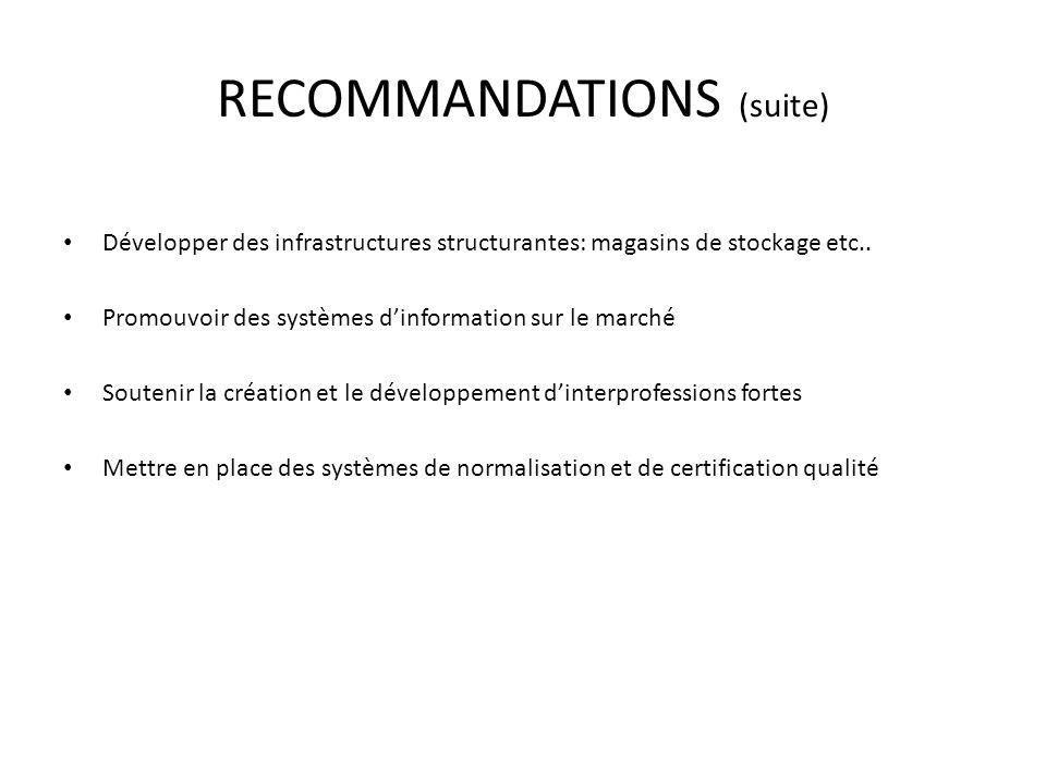 RECOMMANDATIONS (suite) Développer des infrastructures structurantes: magasins de stockage etc.. Promouvoir des systèmes dinformation sur le marché So