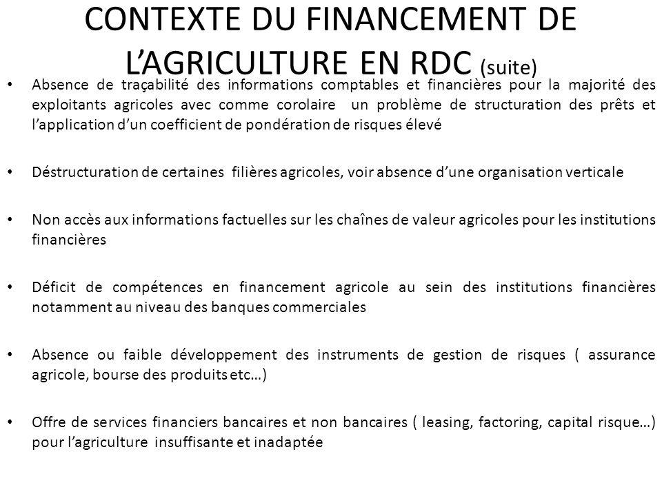 CONTEXTE DU FINANCEMENT DE LAGRICULTURE EN RDC (suite) Absence de traçabilité des informations comptables et financières pour la majorité des exploita