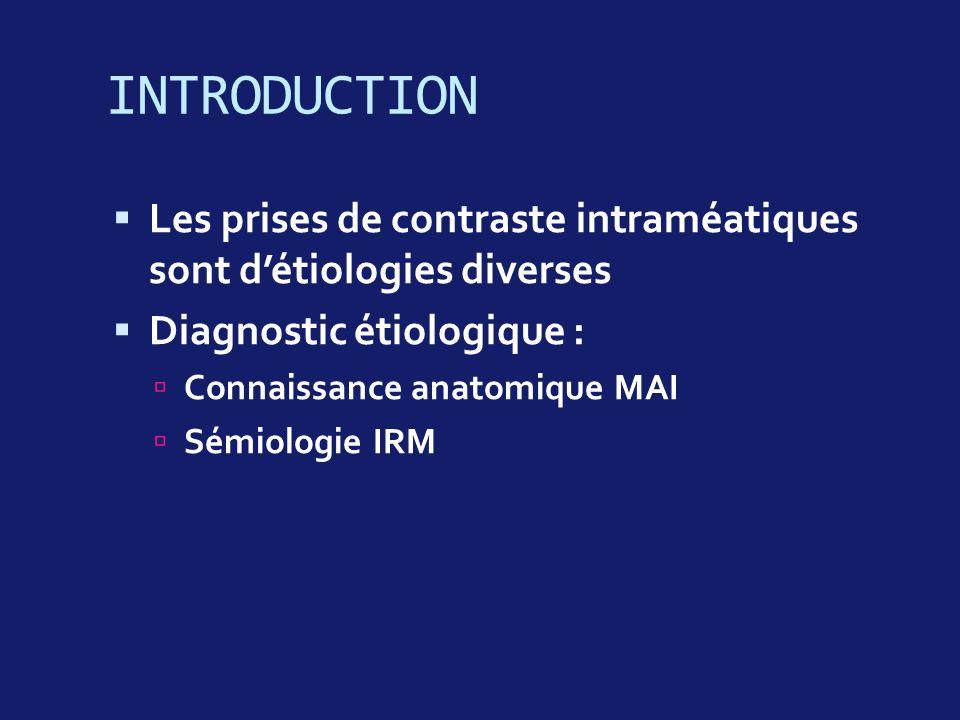 INTRODUCTION Les prises de contraste intraméatiques sont détiologies diverses Diagnostic étiologique : Connaissance anatomique MAI Sémiologie IRM