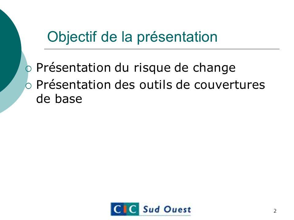 Objectif de la présentation Présentation du risque de change Présentation des outils de couvertures de base 2