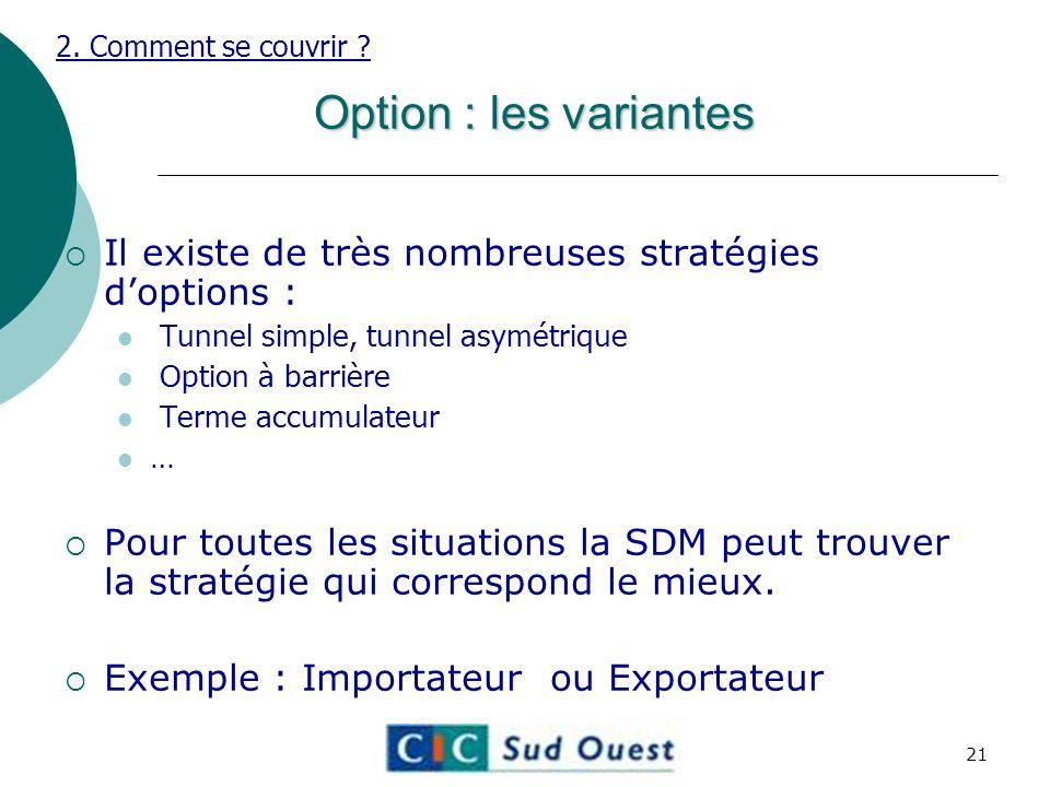 Option : les variantes Il existe de très nombreuses stratégies doptions : Tunnel simple, tunnel asymétrique Option à barrière Terme accumulateur … Pour toutes les situations la SDM peut trouver la stratégie qui correspond le mieux.