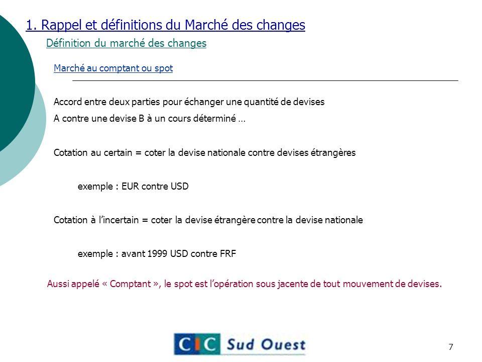 1. Rappel et définitions du Marché des changes Définition du marché des changes Marché au comptant ou spot Accord entre deux parties pour échanger une