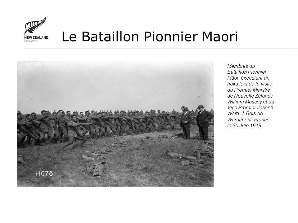 Membres du Bataillon Pionnier Māori éxécutant un haka lors de la visite du Premier Ministre de Nouvelle Zélande William Massey et du Vice Premier Jose