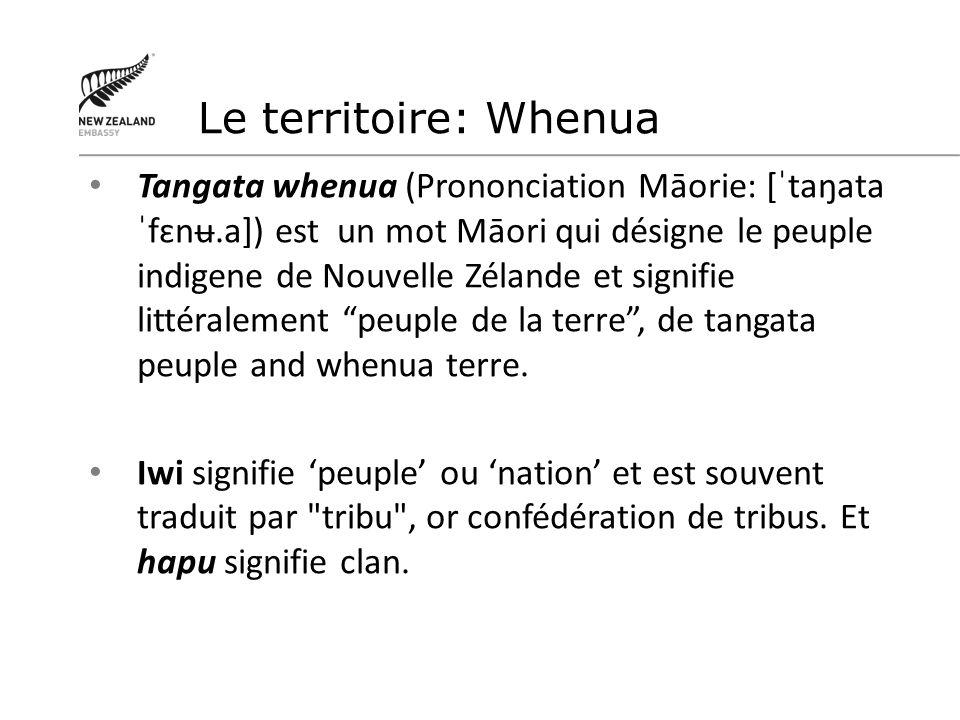Traité de Waitangi Signé le 6 février 1840 Acte de naissance de la Nouvelle Zélande Reconnait lexistence de deux peuples Protège les Taonga Maoris y compris leurs terres Confère aux Maoris les mêmes droits et privilèges que les citoyens britanniques Mise en place des Maori land court Etablissement du Tribunal de Waitangi en 1975
