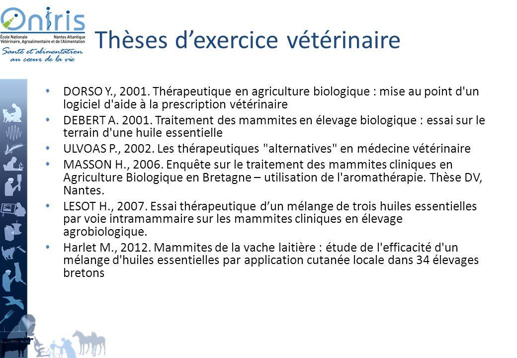 Thèses dexercice vétérinaire DORSO Y., 2001.