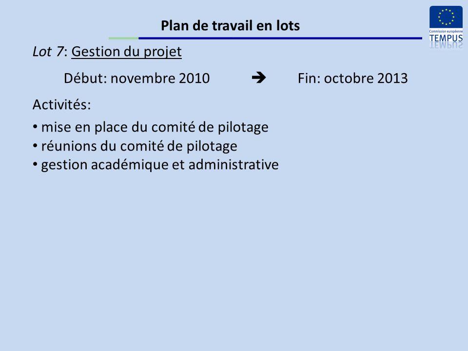 Lot 7: Gestion du projet Début: novembre 2010 Fin: octobre 2013 Activités: mise en place du comité de pilotage réunions du comité de pilotage gestion académique et administrative Plan de travail en lots