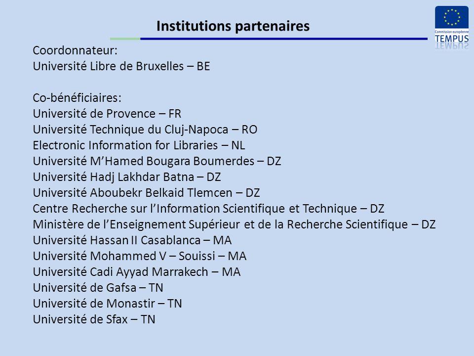 Budget prévisionnel de laction Période déligibilité: 15 octobre 2010 – 14 octobre 2013 Financement du projet: subvention TEMPUS : 887.995,15 EUR cofinancement : 98.700,00 EUR coût total: 986.695,15 EUR