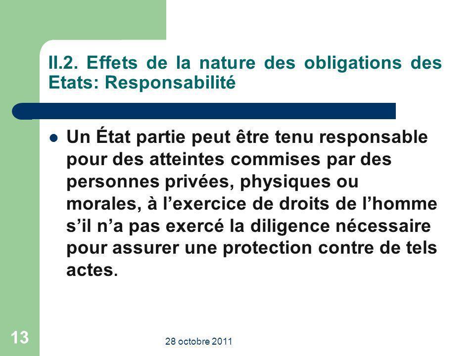 II.2. Effets de la nature des obligations des Etats: Responsabilité Un État partie peut être tenu responsable pour des atteintes commises par des pers