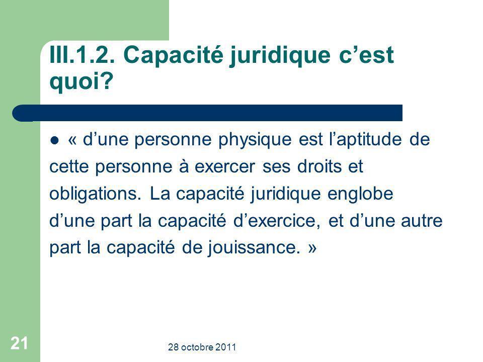 III.1.2. Capacité juridique cest quoi? « dune personne physique est laptitude de cette personne à exercer ses droits et obligations. La capacité jurid
