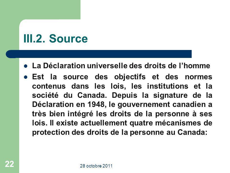 III.2. Source La Déclaration universelle des droits de lhomme Est la source des objectifs et des normes contenus dans les lois, les institutions et la
