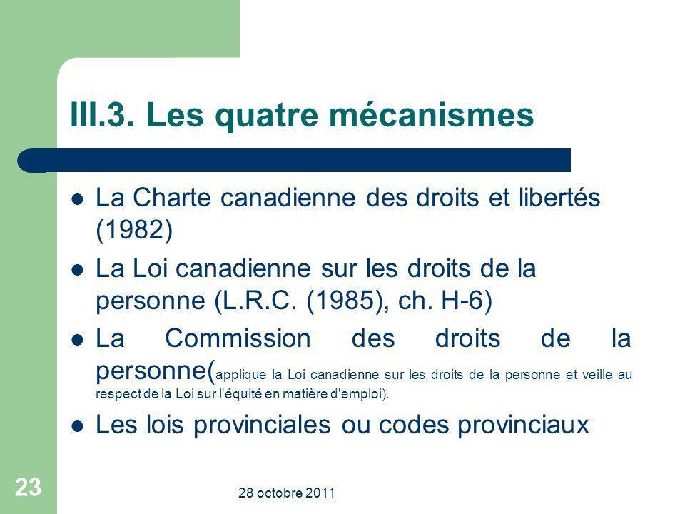 III.3. Les quatre mécanismes La Charte canadienne des droits et libertés (1982) La Loi canadienne sur les droits de la personne (L.R.C. (1985), ch. H-