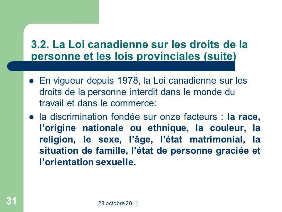 3.2. La Loi canadienne sur les droits de la personne et les lois provinciales (suite) En vigueur depuis 1978, la Loi canadienne sur les droits de la p
