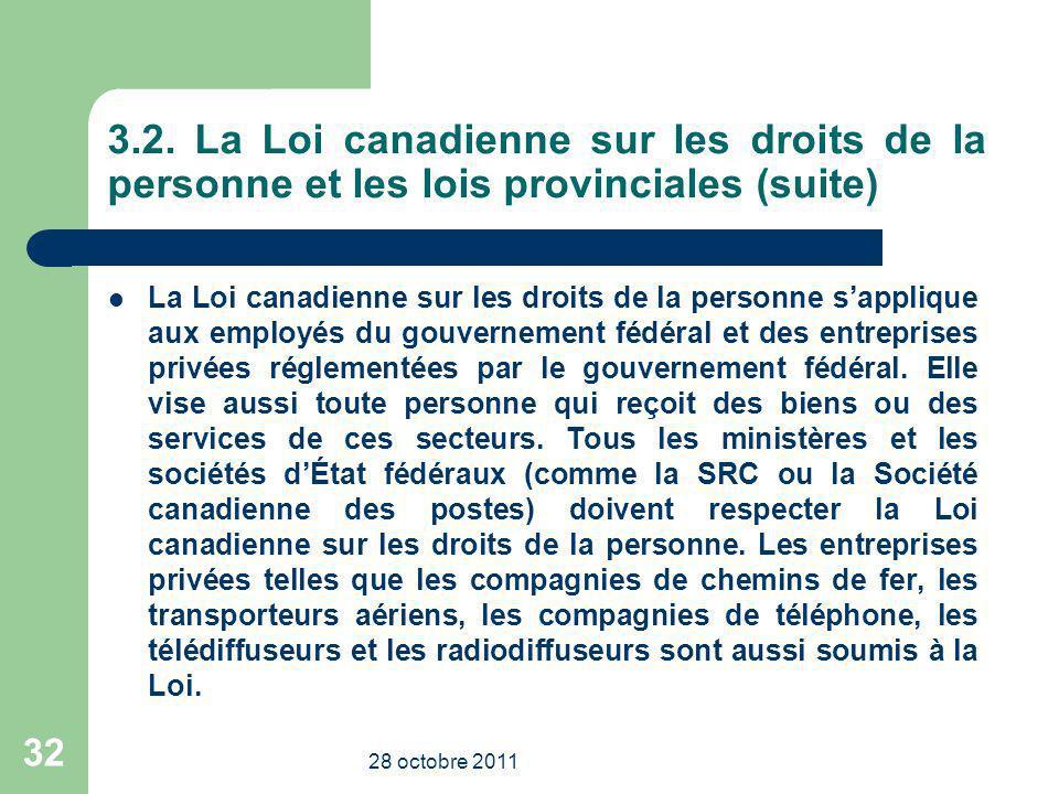 3.2. La Loi canadienne sur les droits de la personne et les lois provinciales (suite) La Loi canadienne sur les droits de la personne sapplique aux em