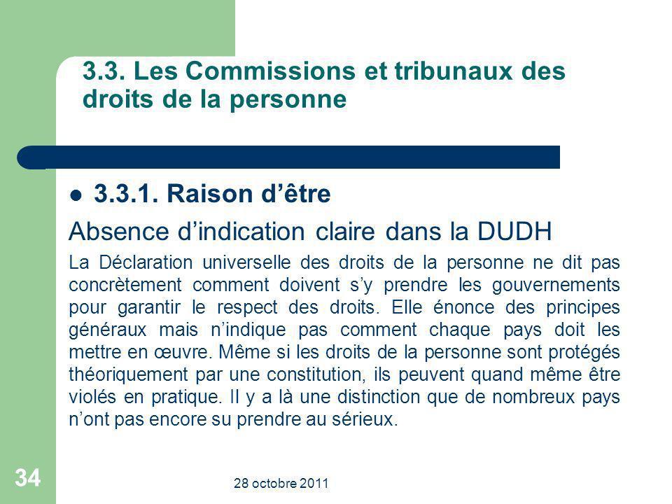 3.3. Les Commissions et tribunaux des droits de la personne 3.3.1. Raison dêtre Absence dindication claire dans la DUDH La Déclaration universelle des