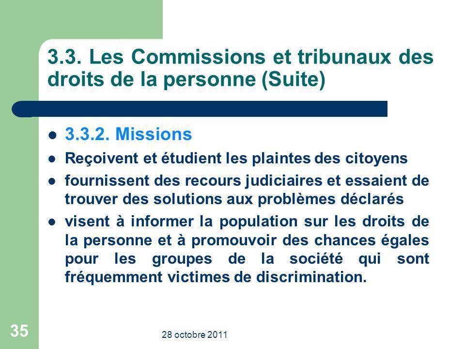 3.3. Les Commissions et tribunaux des droits de la personne (Suite) 3.3.2. Missions Reçoivent et étudient les plaintes des citoyens fournissent des re
