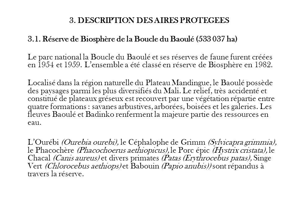 3. DESCRIPTION DES AIRES PROTEGEES 3.1. Réserve de Biosphère de la Boucle du Baoulé (533 037 ha) Le parc national la Boucle du Baoulé et ses réserves