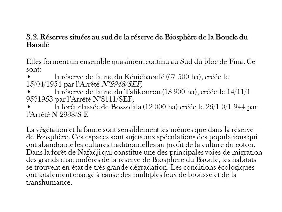 3.2. Réserves situées au sud de la réserve de Biosphère de la Boucle du Baoulé Elles forment un ensemble quasiment continu au Sud du bloc de Fina. Ce