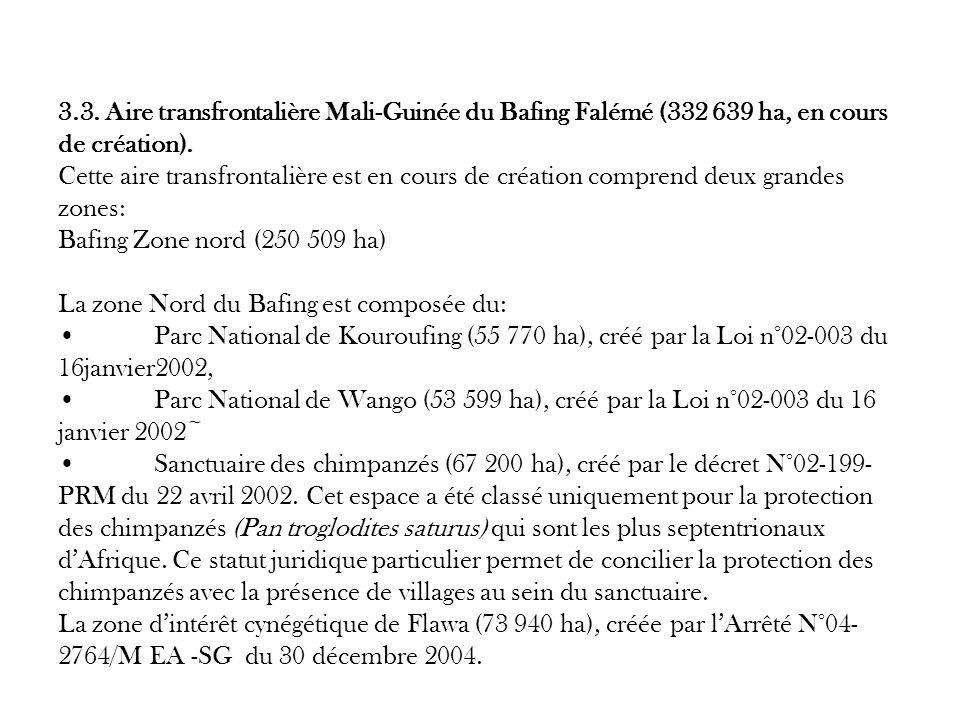 3.3. Aire transfrontalière Mali-Guinée du Bafing Falémé (332 639 ha, en cours de création). Cette aire transfrontalière est en cours de création compr